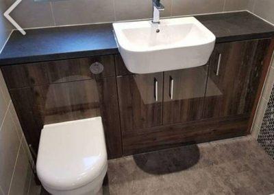 dark wood bathroom units