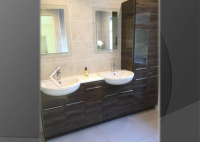 gloss wood effect bathroom units
